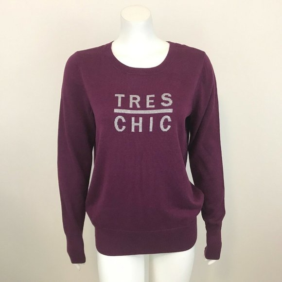 Halogen Tres Chic Purple Long Sleeve Sweater L